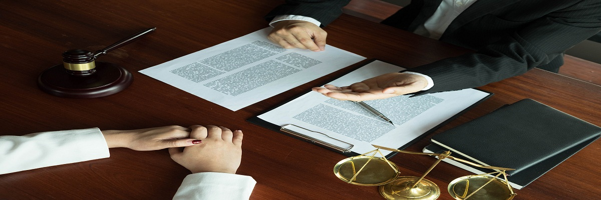 Lawyer Working With Contract Client On The Table In Office. Cons